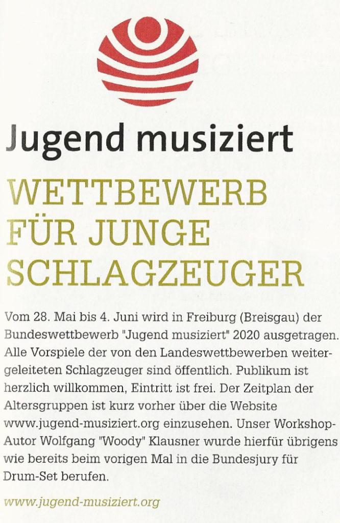 Jugend Musiziert-Bundesjury-Schlagzeug-DrumSet-Pop 2020